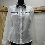 Одежда ручной работы. Ярмарка Мастеров - ручная работа Льняная блуза рубашка Монвизо, 100% лен,Италия. Handmade.