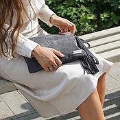 Сумки и аксессуары handmade. Livemaster - original item Grey suede shoulder Bag with crossbody strap. Handmade.