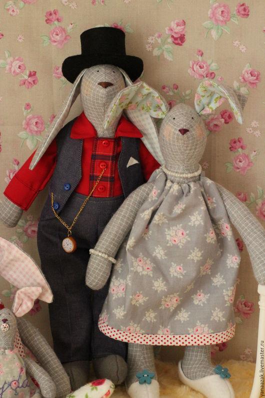 Куклы Тильды ручной работы. Ярмарка Мастеров - ручная работа. Купить Семья Зайцевых в стиле шебби шик. Handmade. Розовый