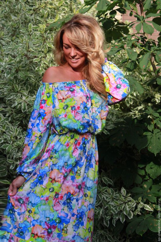Платья ручной работы. Ярмарка Мастеров - ручная работа. Купить Длинное платье в акварельные цветы. Handmade. Комбинированный, романтический стиль