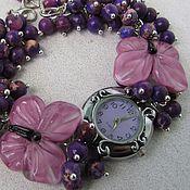"""Украшения ручной работы. Ярмарка Мастеров - ручная работа """"Мотылёк"""" наручные часы с бусинами лэмпворк и варисцитом. Handmade."""