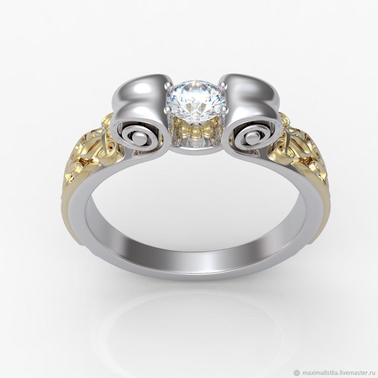 "Золотое кольцо ""Скрижали"" с бриллиантом, Engagement rings, Moscow,  Фото №1"