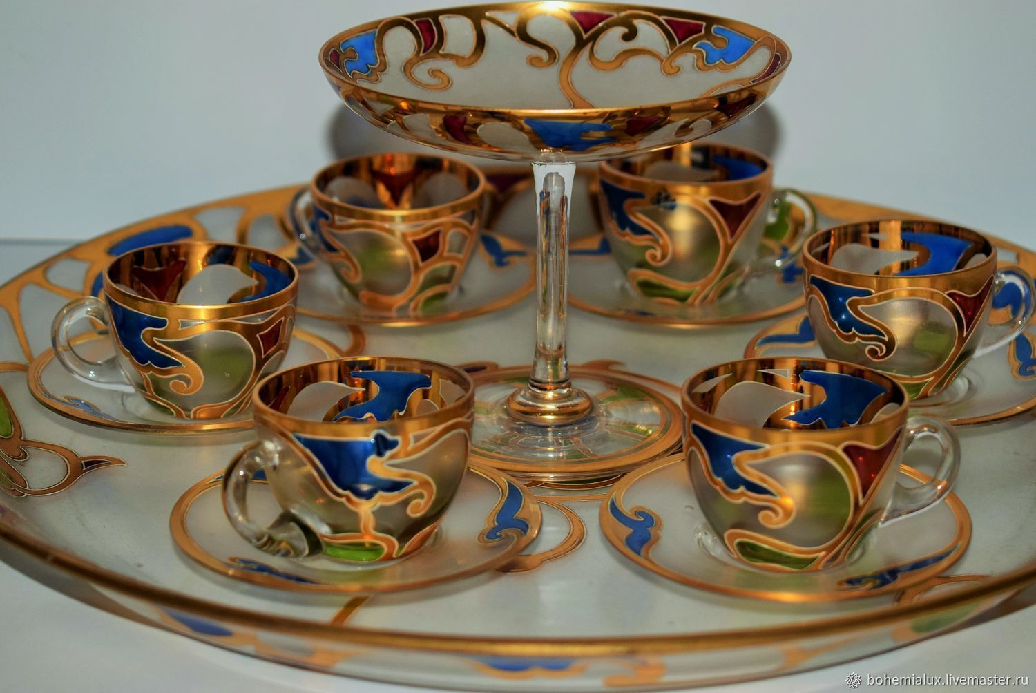 Coffee set, tray, sugar bowl, 6 cups and saucers Harrach Harrach – shop  online on Livemaster with shipping - HB20VCOM | Prague