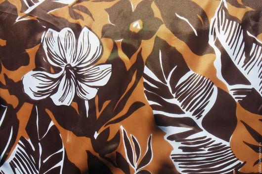 """Шитье ручной работы. Ярмарка Мастеров - ручная работа. Купить Ткань шелк ацетатный """"Цветы"""". Handmade. Коричневый, цветная ткань"""