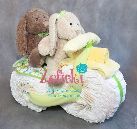 Подарки для новорожденных, ручной работы. Ярмарка Мастеров - ручная работа. Купить Мотоцикл из памперсов подгузников подарок двойне велосипед. Handmade.