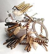 Украшения handmade. Livemaster - original item Beads with brown pearl and gold corals.. Handmade.