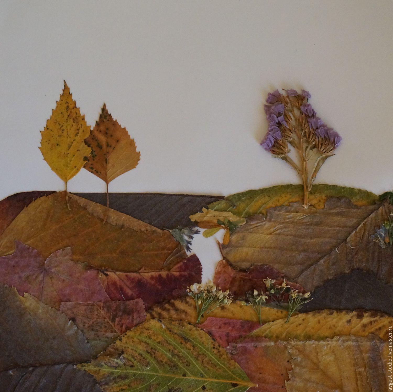 Картины из сухих листьев и цветов своими руками фото
