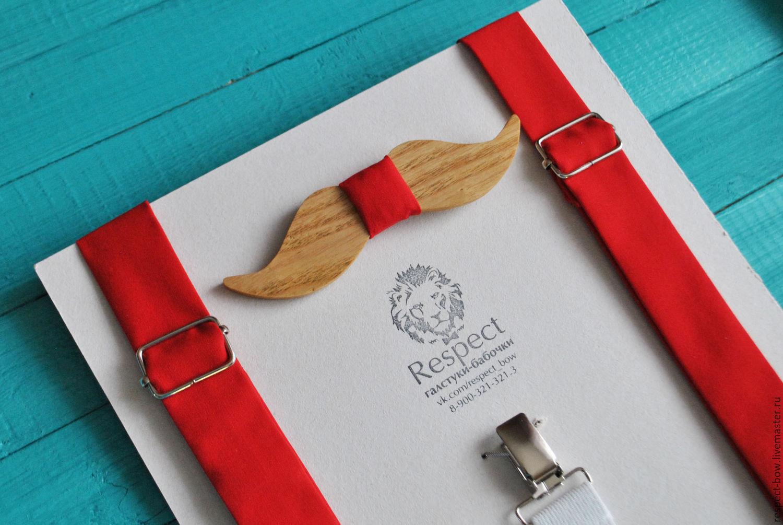 Wooden tie Mustache red suspenders, Ties, Moscow,  Фото №1