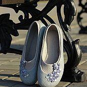 """Обувь ручной работы. Ярмарка Мастеров - ручная работа """"Silver Rain"""" валяные туфельки-балетки из шерсти. Handmade."""