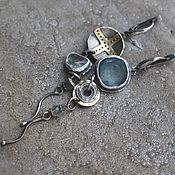 Украшения handmade. Livemaster - original item Asymmetrical earrings with aquamarine and beryl, silver and brass. Handmade.