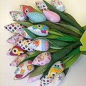 Цветы и флористика ручной работы. Ярмарка Мастеров - ручная работа Букет тюльпанов из ткани. Handmade.