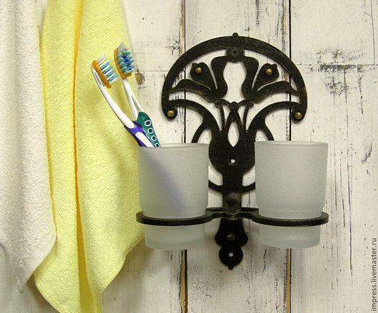 Ванная комната ручной работы. Ярмарка Мастеров - ручная работа. Купить держатель для стаканчиков Лилии. Handmade. Черный, Ковка, прованс