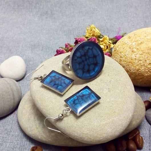 Комплекты украшений ручной работы. Ярмарка Мастеров - ручная работа. Купить Кольцо и серьги Синий омут. Handmade. Тёмно-синий