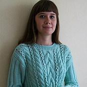 Одежда ручной работы. Ярмарка Мастеров - ручная работа Джемпер мятного цвета связан из 100% мериносовой шерсти Италии. Handmade.