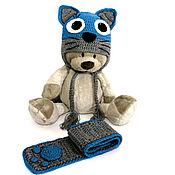 Работы для детей, ручной работы. Ярмарка Мастеров - ручная работа Детская шапка и шарф Кот (зимняя теплая вязаная) синий джинс. Handmade.