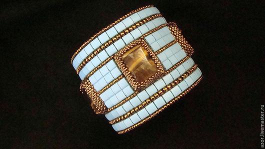 """Браслеты ручной работы. Ярмарка Мастеров - ручная работа. Купить браслет """"Tertia vigilia - W"""". Handmade. Голубой, бисер японский"""