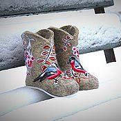 """Обувь ручной работы. Ярмарка Мастеров - ручная работа Валенки детские """"Снегири прилетели"""". Handmade."""