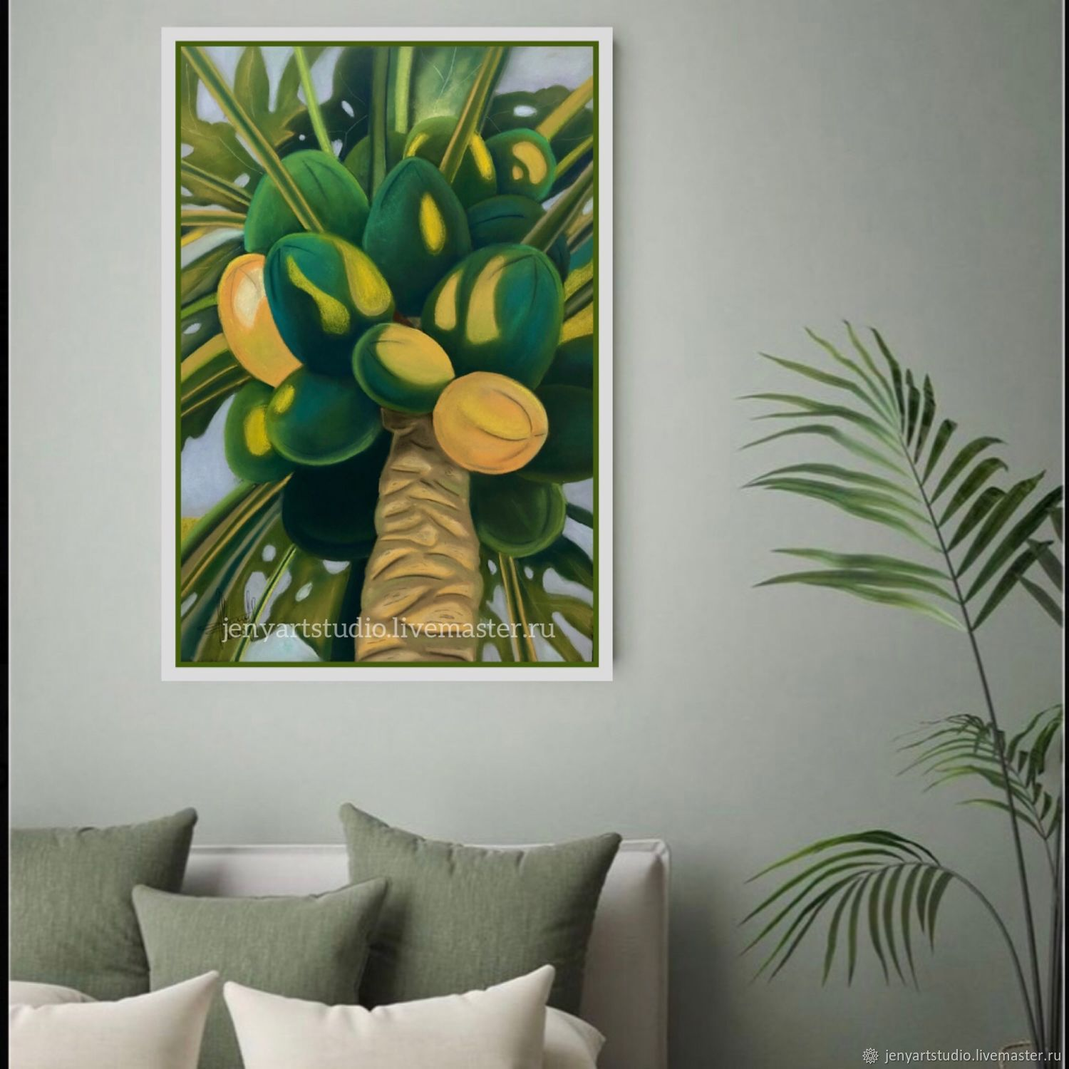 Paintings: dry pastel 'Tropical fruits' 38h55 cm. green color, Pictures, Kolomna,  Фото №1