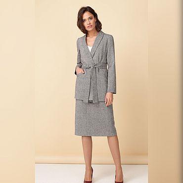 Одежда ручной работы. Ярмарка Мастеров - ручная работа Костюм жакет с запахом и юбка серого цвета. Handmade.