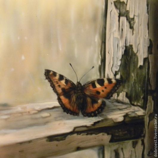 Животные ручной работы. Ярмарка Мастеров - ручная работа. Купить Бабочка на окне.. Handmade. Оливковый, бабочка на окне, старое окно