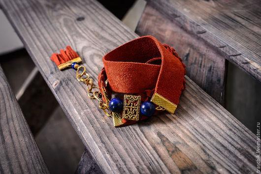 """Браслеты ручной работы. Ярмарка Мастеров - ручная работа. Купить Браслет """"Оранж+лазурит. Handmade. Оранжевый, браслет с подвесками, Кожаная сумка"""