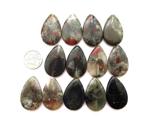 Для украшений ручной работы. Ярмарка Мастеров - ручная работа. Купить Яшма гелиотроп 13 камней набор зеленый крупные бусины капли. Handmade.