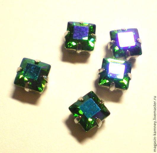 Для украшений ручной работы. Ярмарка Мастеров - ручная работа. Купить Сваровски квадрат в цапах Fern Green GB 6 мм. Handmade.