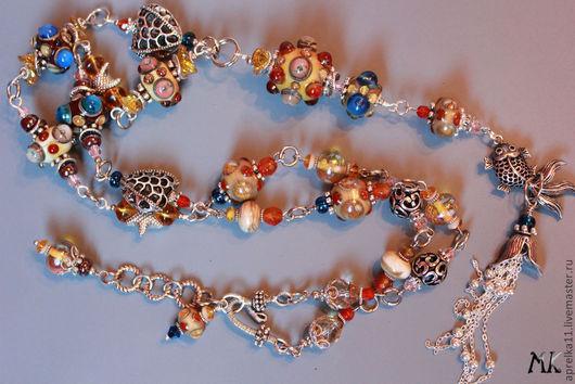"""Колье, бусы ручной работы. Ярмарка Мастеров - ручная работа. Купить Колье-ожерелье """"Принцесса Моря"""". Handmade. Авторский лэмпворк"""