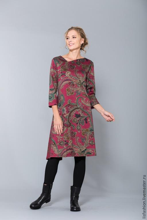 Платья ручной работы. Ярмарка Мастеров - ручная работа. Купить Платье 1518W. Handmade. Бордовый, осенняя мода, платье для офиса