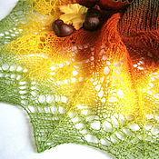 Аксессуары ручной работы. Ярмарка Мастеров - ручная работа Осень Ажурный шарф, вязаный шарф, шарфик, шерстяной шарф. Handmade.