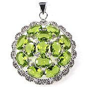 Материалы для творчества handmade. Livemaster - original item Silver pendant with peridots. Handmade.