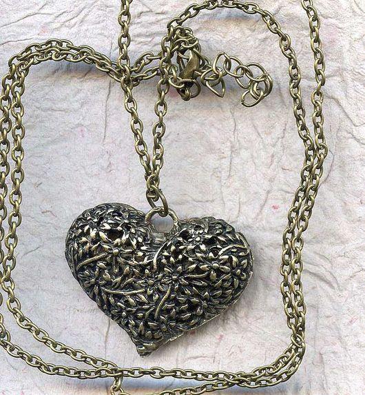 Для украшений ручной работы. Ярмарка Мастеров - ручная работа. Купить Подвеска Сердце бронза и серебро. Handmade.
