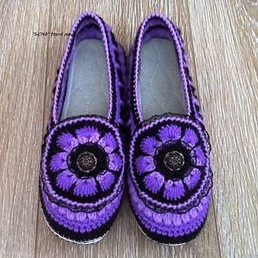 Обувь ручной работы. Ярмарка Мастеров - ручная работа Тапочки вязаные крючком Виолетта. Handmade.
