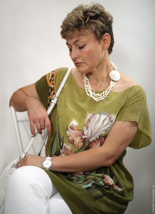 """Платья ручной работы. Ярмарка Мастеров - ручная работа. Купить 52 р  """"Флоренция"""" Платье - туника с ирисами Эко батик. Handmade."""