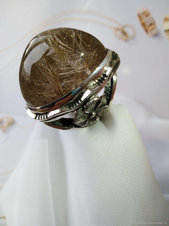 Кольцо рутиловым кварцем в серебре (№ 52), Кольца, Симферополь,  Фото №1