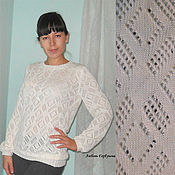 Одежда ручной работы. Ярмарка Мастеров - ручная работа ажурный пуловер из вискозы. Handmade.