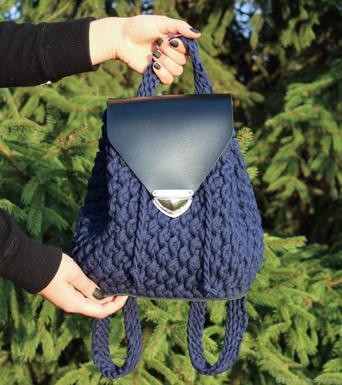 Рюкзак из трикотажной пряжи с кожаным клапаном, Рюкзаки, Смоленск,  Фото №1
