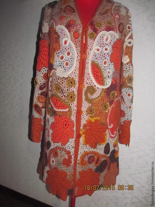 Пиджаки, жакеты ручной работы. Ярмарка Мастеров - ручная работа. Купить Кардиган. Handmade. Рыжий, шерсть
