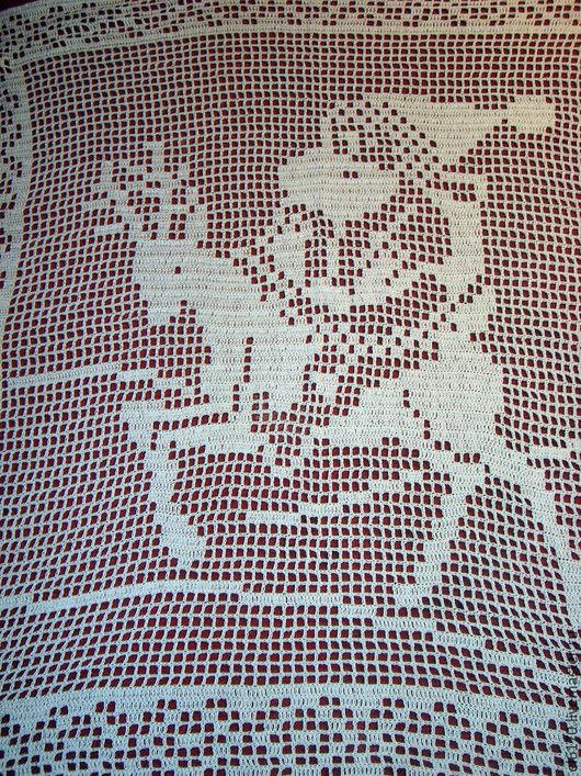 Текстиль, ковры ручной работы. Ярмарка Мастеров - ручная работа. Купить Вязаная декоративная накидка на подушку  Санта Клаус на олене. Handmade.