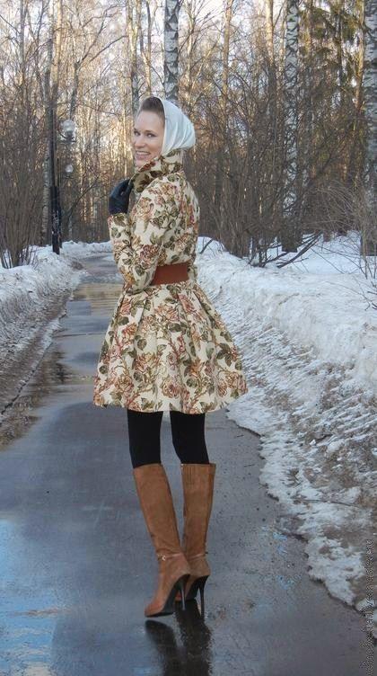 """Верхняя одежда ручной работы. Ярмарка Мастеров - ручная работа. Купить Пальто """"Осень в Париже"""". Handmade. Бежевый, розы"""