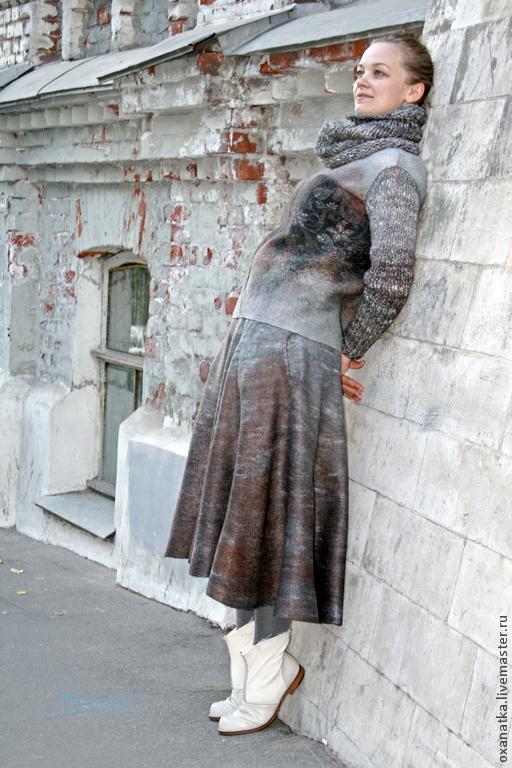 Пиджаки, жакеты ручной работы. Ярмарка Мастеров - ручная работа. Купить Валяная куртка и юбка Март. Handmade. Коричневый