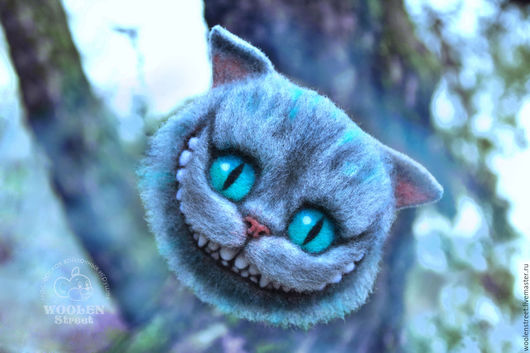 Броши ручной работы. Ярмарка Мастеров - ручная работа. Купить Чеширский кот по мотивам Тима Бертона. Брошь из шерсти. Handmade.