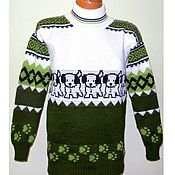Одежда ручной работы. Ярмарка Мастеров - ручная работа Вязаный свитер жаккард Белый Бим. Handmade.