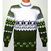 Одежда handmade. Livemaster - original item Sweater knitted jacquard White BIM. Handmade.