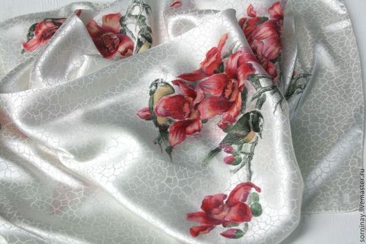 """Шали, палантины ручной работы. Ярмарка Мастеров - ручная работа. Купить Платок """"Магнолия"""". Handmade. Белый, роспись по ткани"""