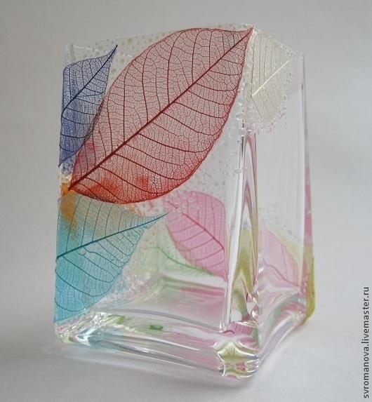 """Вазы ручной работы. Ярмарка Мастеров - ручная работа. Купить Ваза """"Радужный листопад"""". Handmade. Листья, радуга"""