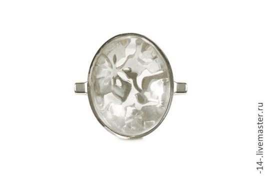 Кольца ручной работы. Ярмарка Мастеров - ручная работа. Купить Кольцо с Горным Хрусталем Яблоня свет камней. Handmade. Белый