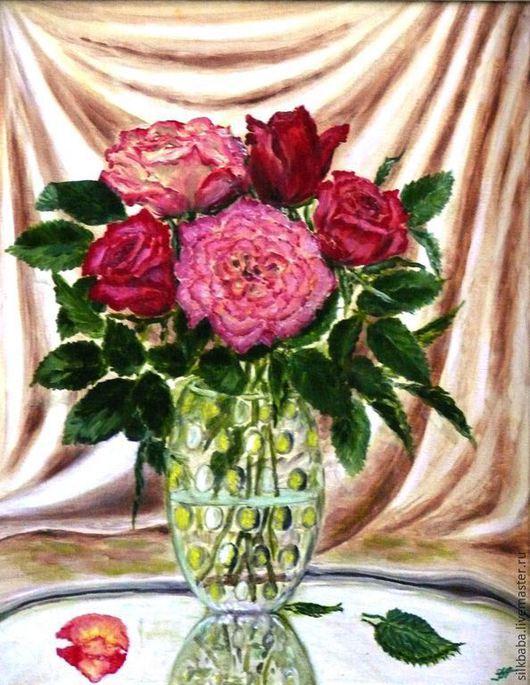 Натюрморт ручной работы. Ярмарка Мастеров - ручная работа. Купить Натюрморт с розами. Handmade. Разноцветный, натюрморт с розами, картина маслом