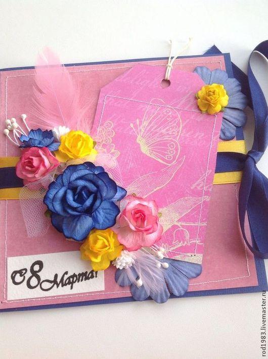 """Открытки для женщин, ручной работы. Ярмарка Мастеров - ручная работа. Купить Открытка с 8 марта """" бабочка"""". Handmade. Розовый"""