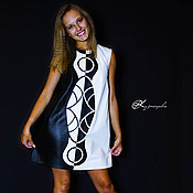 Одежда handmade. Livemaster - original item Leather dress Black and White. Handmade.